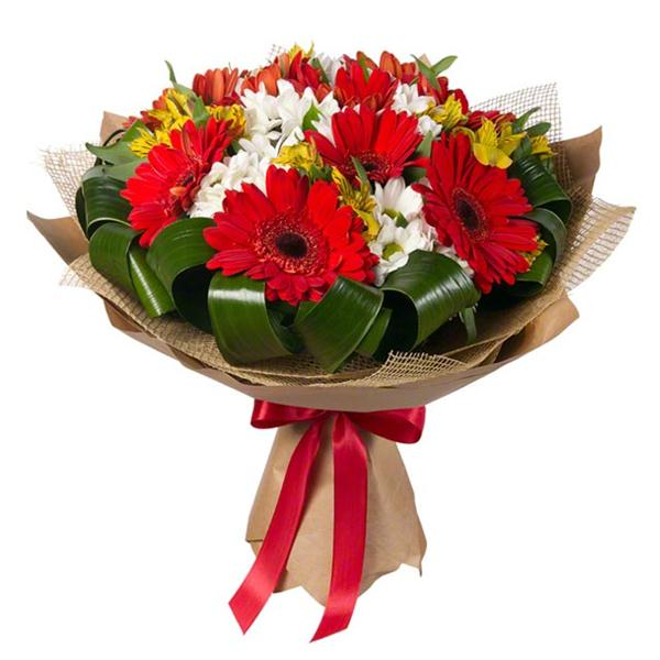 Bouquet of gerberas and white chrysanthemums